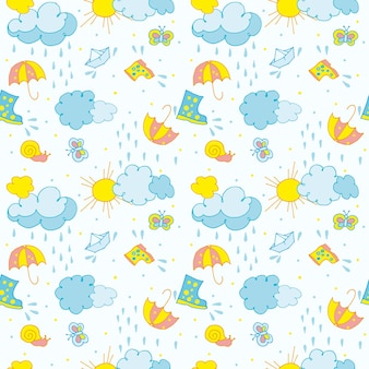 Seamless pattern on a childrens theme clouds with raindrops the sun and a boat