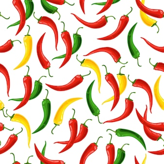 Seamless pattern of chili peppers isolated