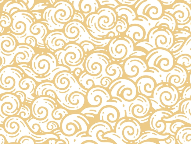 Seamless pattern of china clouds in doodle vintage style.