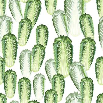白い背景の上のシームレスなパターンの白菜。レタスと抽象的な飾り。生地のランダムな植物テンプレート。デザインベクトルイラスト。