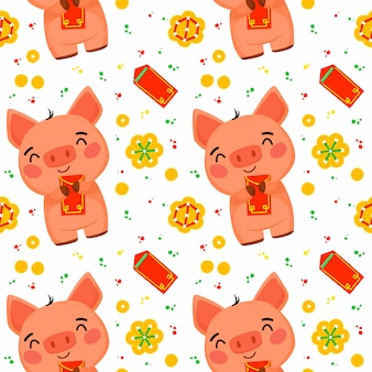 Seamless pattern for the chinese new year of the pig
