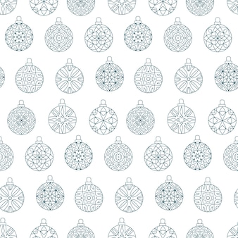 Seamless pattern of christmas balls with abstract geometric design