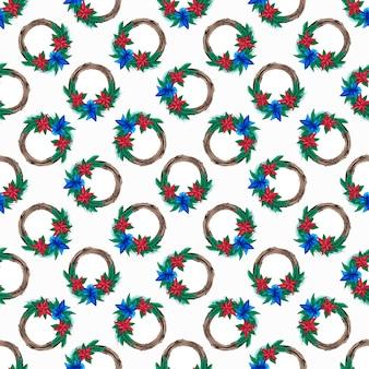 Seamless pattern of christmas botanical wreaths