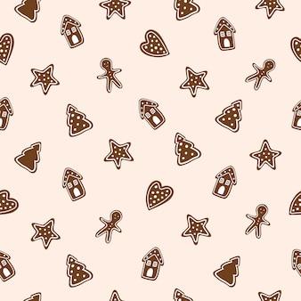 완벽 한 패턴입니다. 밝은 배경에 크리스마스 쿠키입니다. 벡터 일러스트 레이 션