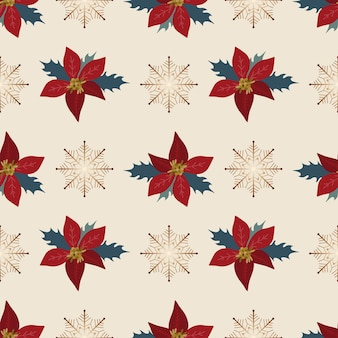 원활한 패턴 크리스마스 장식 흰색 배경 포인세티아 눈송이 새 해