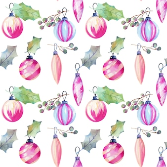 Seamless pattern of christmas decorations and holly tree leaves