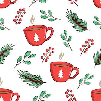 シームレスなパターンのクリスマスの花と一杯のコーヒー