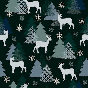 원활한 패턴 크리스마스 숲 진한 파란색 배경 나무 사슴 눈송이 새 해