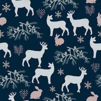 원활한 패턴 크리스마스 숲 진한 파란색 배경 나무 토끼 사슴 눈송이 새 해