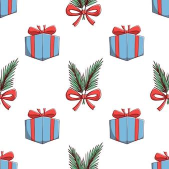 Бесшовные модели рождественская подарочная коробка и листья украшения