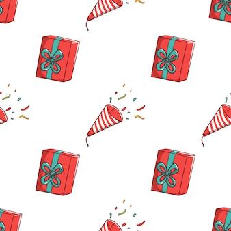 Бесшовные модели рождественская подарочная коробка в стиле каракули