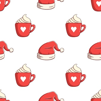 Бесшовные модели рождественская шляпа и горячий напиток