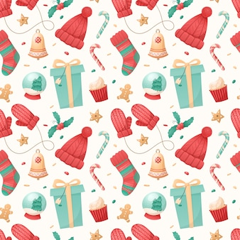 Seamless pattern of christmas isolated icons on a white background.