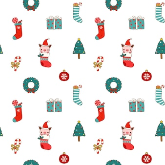 Seamless pattern of christmas and new year in flat style