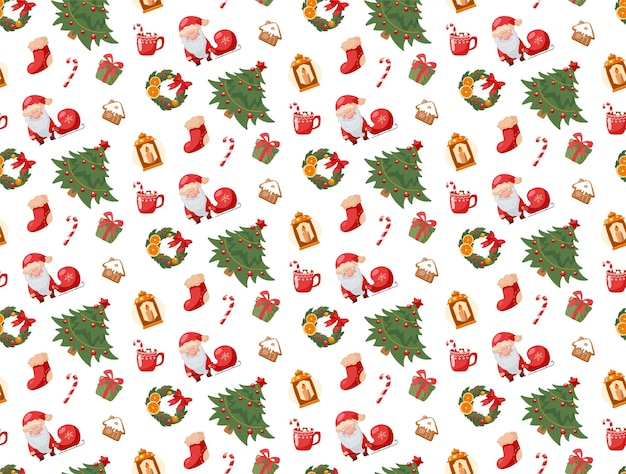 Seamless pattern christmas and new year