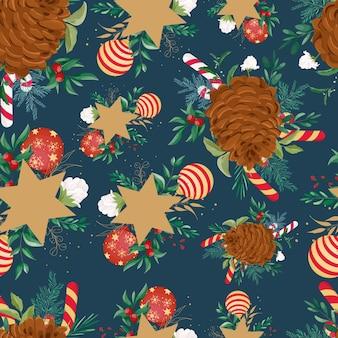 Бесшовный фон рождественский орнамент дизайн