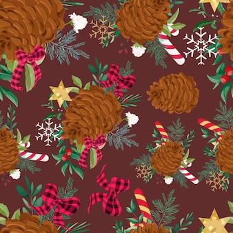 シームレスパターンのクリスマスオーナメントデザイン