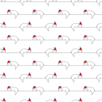 Seamless pattern christmas santa claus kitten sleeping