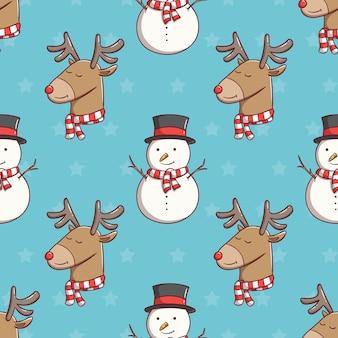 Бесшовные модели рождественский снеговик и олень