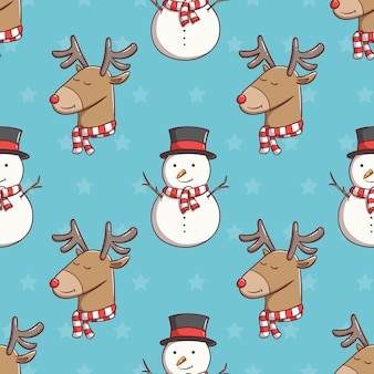 Seamless pattern christmas snowman and reindeer