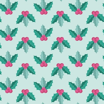 Seamless pattern of christmas symbols in flat style isolated on a white background