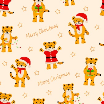 Seamless pattern of christmas tiger, cute cartoon symbols of the year. vector illustration, the concept of christmas and new year.