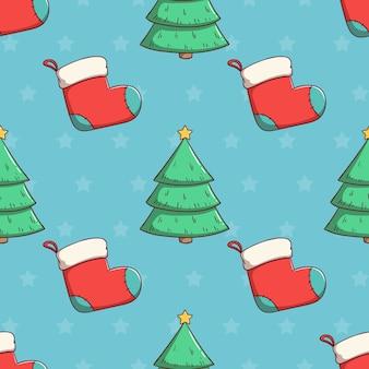 Бесшовные модели рождественская елка и носки