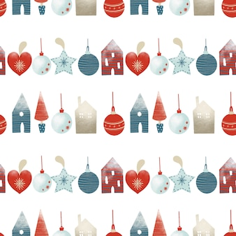 Seamless pattern of christmas tree decorations in scandinavian style