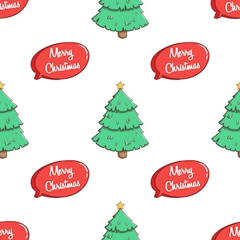 Seamless pattern christmas tree with speech bubble