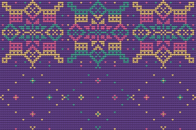 Seamless pattern of christmas ugly sweater, lavender color