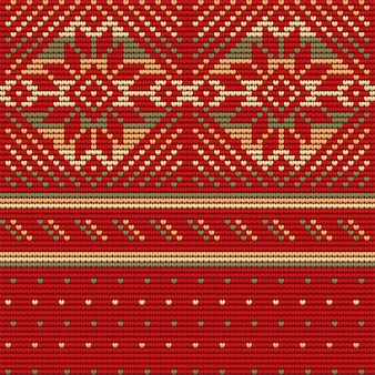 Seamless pattern of christmas ugly sweater, red background