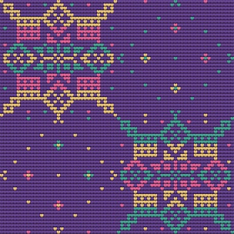 Seamless pattern of christmas ugly sweater, violet background