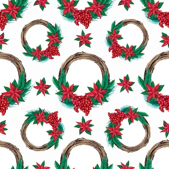 Seamless pattern of christmas watercolor wreaths