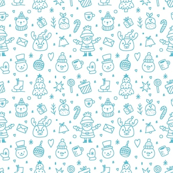 Seamless pattern for christmas on a white background with blue elements.