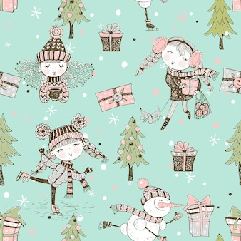 Seamless pattern on christmas winter theme with cute girls in doodle style.