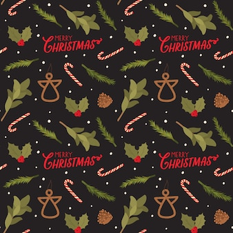 Seamless pattern for christmas with holiday lettering and traditional elements. scandinavian style