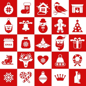 Seamless pattern of christmass icons