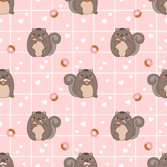Seamless pattern chuby squirrel eat donut and cupcake