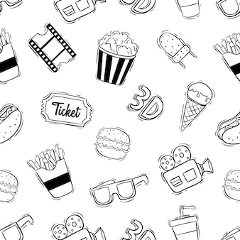 Seamless pattern of cinema icons with doodle style