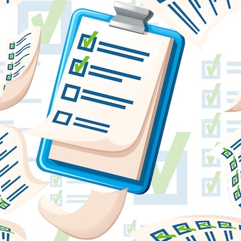 Seamless pattern of clipboard with checklist flat vector illustration on white background.