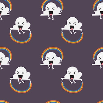 Seamless pattern of cloud character jumping rainbow rope