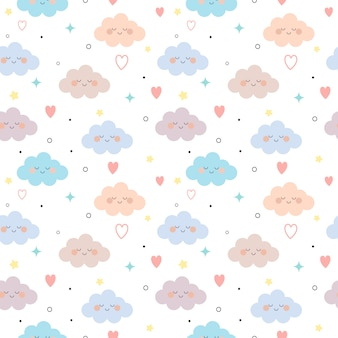 The seamless pattern of cloud and heart and star on the white background.