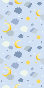 Seamless pattern of cloud and moon on blue