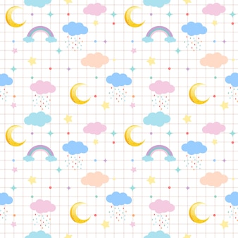 The seamless pattern of cloud and moon and rainbow and star in pastel theme