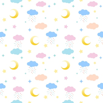 Seamless pattern of clouds, moons and stars