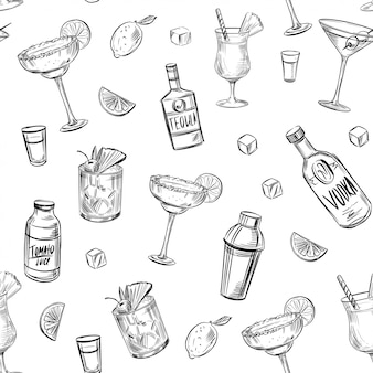 Seamless pattern cocktails