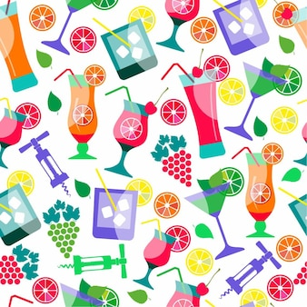 Seamless pattern of cocktails
