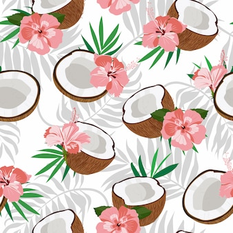 Seamless pattern coconut piece and palm leaves with pink hibiscus