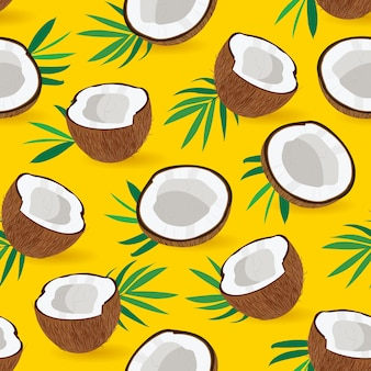Seamless pattern coconut piece