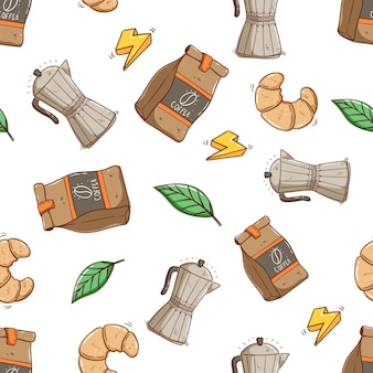 Seamless pattern of coffee bag and container with croissant